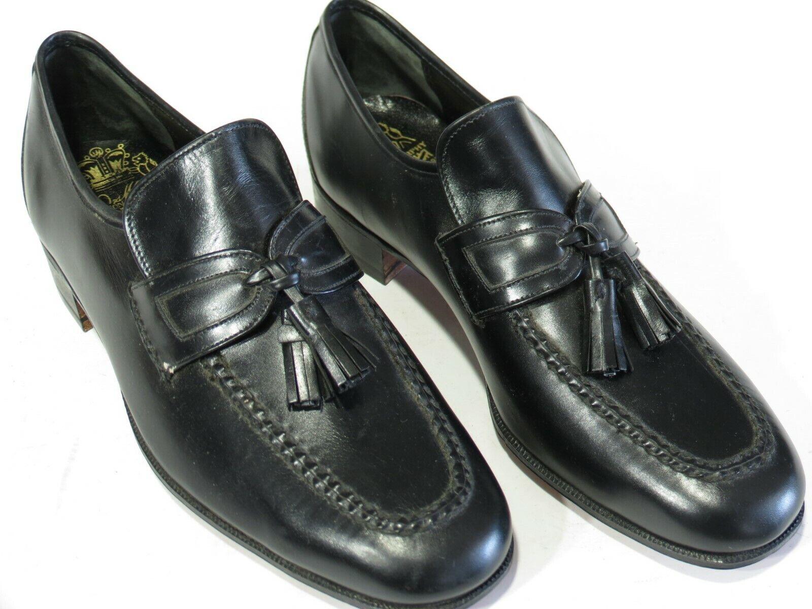 Neuf Vintage Johnston & Murphy Crown Aristocraft Chaussures 7.5 Noir Tassel Loafers