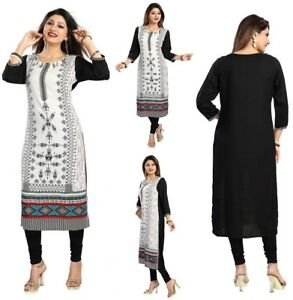 fca62cd2ad60 Image is loading Women-Black-White-Indian-Long-Cotton-Printed-Tunic-