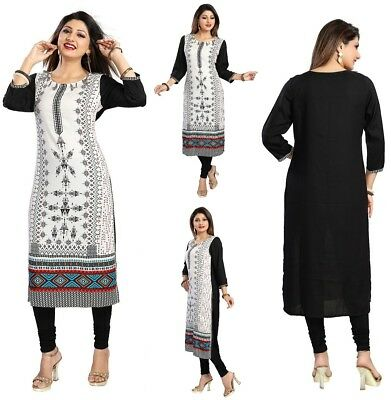 Women Black White Indian Long  Cotton Printed Tunic Kurta Shirt Dress MM175