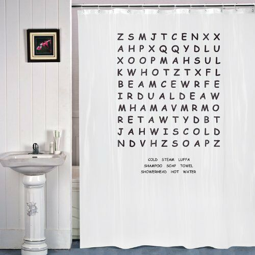 WORD SEARCH Puzzle Novelty Shower Curtain Great Gift Bathroom White Rail Hooks