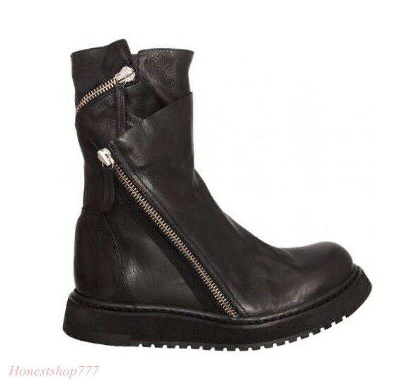Vogue Mens Faux Fur Parka Slim Flt Zipper Fur Lined Motor Mid-Calf Boots shoes