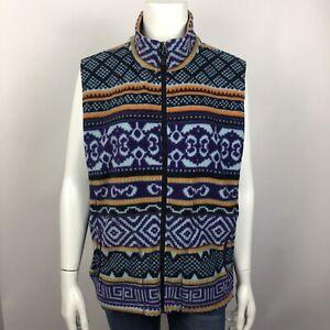 Woolrich-XL-Fleece-Vest-Aztec-Print-Zip-Up-Womens-Sleeveless-Purple-Blue-Winter