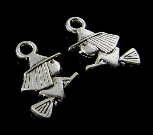 30 Metall Anhänger KLEINE HEXE 15mm platinfarbig Perlen nenad-design AN181