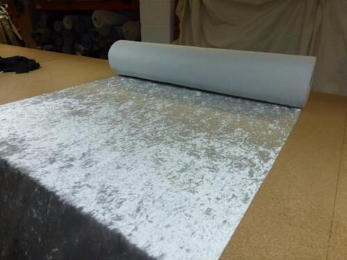 ICE GREY Crushed Glitz Velvet Upholstery Curtain Fabric