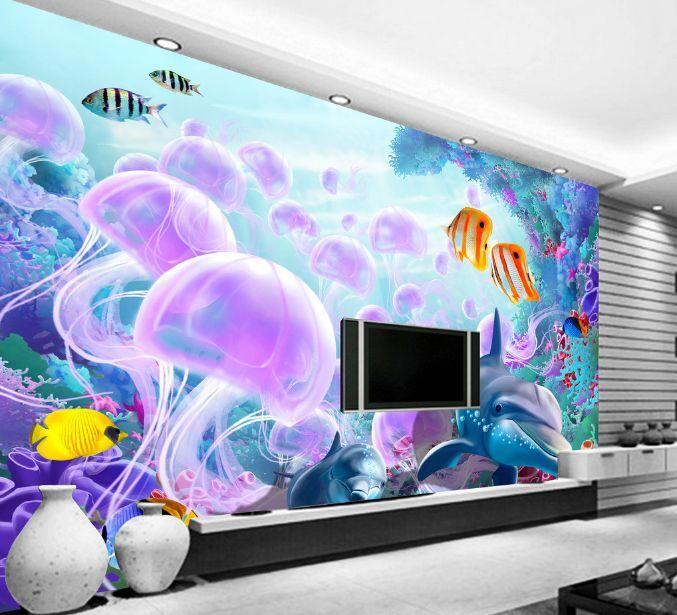 3D Océan Lumineux 4 Photo Papier Peint en Autocollant Murale Plafond Chambre Art