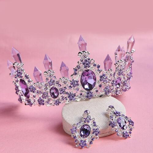 7 cm Hohe Lila Kristall Krone Ohrringe Diademe Hochzeit Prom Party Festzug