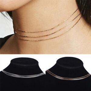 3-Schicht-Mode-Frauen-Gold-Halsketten-Kragen-Choker-Bib-Halskette-SchmuckNIU