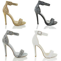 WOMENS PLATFORM HIGH HEEL LADIES ANKLE STRAP GLITTER PARTY SANDALS SHOES 3-8