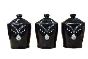 Crystal Design Black Tea Coffee Sugar Jars Canisters Set Shabby ...