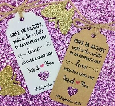 """Fiaba Matrimonio Favore Regalo Tag """"grazie"""" Guest Etichetta, Personalizzata-mostra Il Titolo Originale Vivace E Grande Nello Stile"""