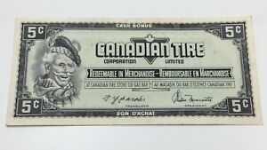 1974-Canadian-Tire-5-Cents-CTC-S4-B-BN-Circulated-Money-Banknote-D126