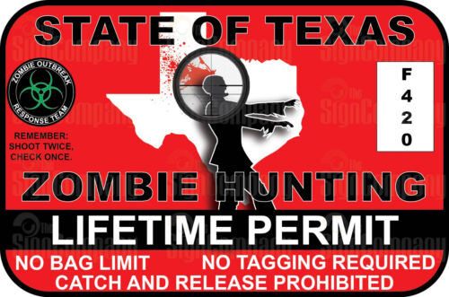 Texas Zombie Hunting Permit Vinyl Bumper Laptop Sticker 3M DECAL funny Die Cut