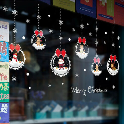 Wall Dcor Christmas Glass Ball Ornament Stickers Removable Wall ...