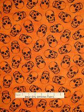 Halloween Human Skull Toss Orange Cotton Fabric Timeless Treasures C3037  YARD
