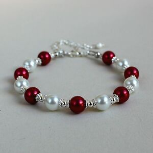 Details About Red And White Pearls Silver Beaded Bracelet Party Wedding Bridesmaid Gift