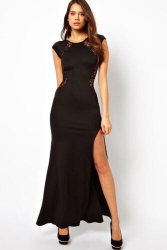 Evening Black Maxi Dress Ladies Lace Back and Fishtail Ankle Length 10 12 14 16
