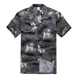 Men-Hawaiian-Shirt-Cruise-Tropical-Luau-Beach-Aloha-Party-Gray-Surf-Palm-Map