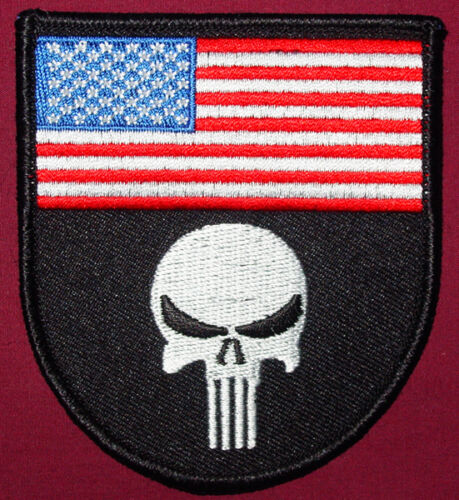 PUNISHER FLAG SHIELD USA EMBROIDERED IRON ON ARMY PATCH