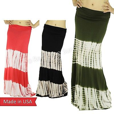 Women Tiedye Stripes Print Boho Hippie Gypsy Side Gathered Long Maxi Skirt USA