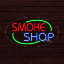 Brand New Smoke Shop Withborder Oval 30x17x1 Inch Led Flex Indoor Sign 34645