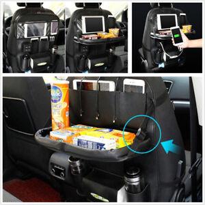 Car-Seat-Back-Storage-Bag-Phone-GPS-4-USB-Charger-Tidy-Pocket-Mini-Dinner-Table