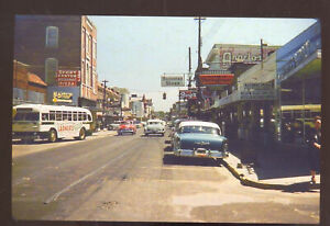 Biloxi Mississippi Downtown Street Scene Old Cars Bus Stores Postcard Copy Ebay
