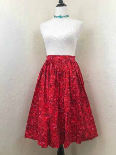 Vintage 1950s/1960s Novelty Print Skirt Asian Japa