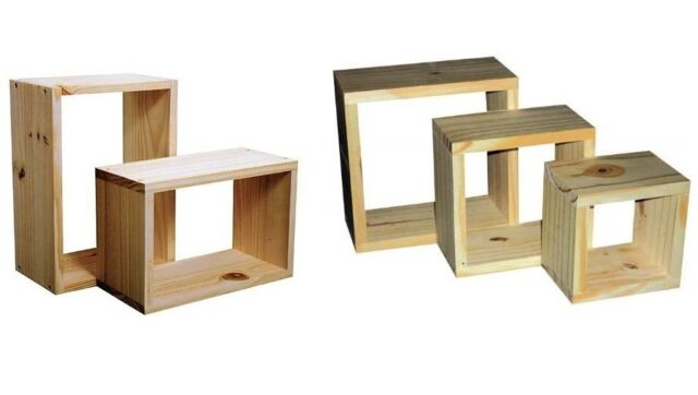 Natural & Antique Wax Finish Wooden Wall Cube Cubes Shelf Storage Unit Bookcase