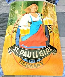 ST-PAULI-GIRL-1986-GERMAN-IMPORT-BEER-SEXY-SERVER-32-X-21-POSTER-MAN-CAVE-MINT