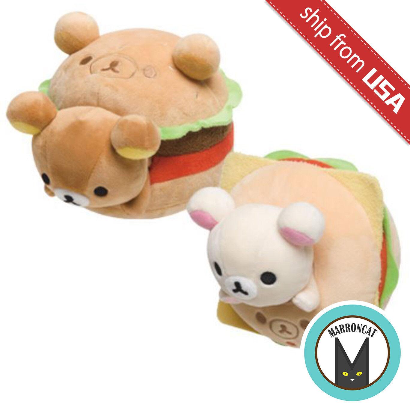 1 Japan San-X Rilakkuma Burger or Korilakkuma Bagel Soft Plush Doll Toy Stuffed