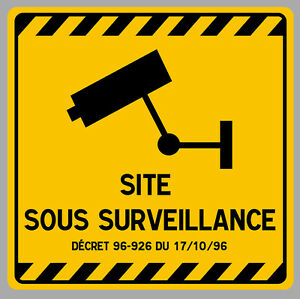 site sous video surveillance camera protection 12cm autocollant sticker va094 ebay. Black Bedroom Furniture Sets. Home Design Ideas