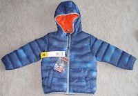 Boys Snozu Jacket Down Fleece Lined Hooded Coat 3t Blue Zip Front Pockets