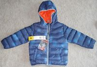 Boys Snozu Jacket Down Fleece Lined Hooded Coat 3t Blue Zip Front Pockets