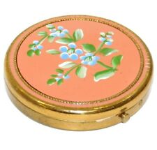 Vintage 1960\u2019s Powder Compact Embroidered Flowers
