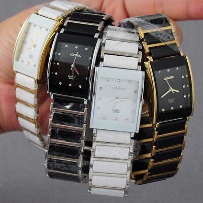 New Diamonds Elegant Men Ladies Watches Analog Quartz Wrist Watch Ceramic Steel