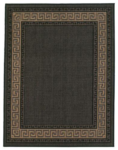 Griechisch Schlüssel Schwarz Flachgewebe Rutschfest Strapazierfähig Teppich