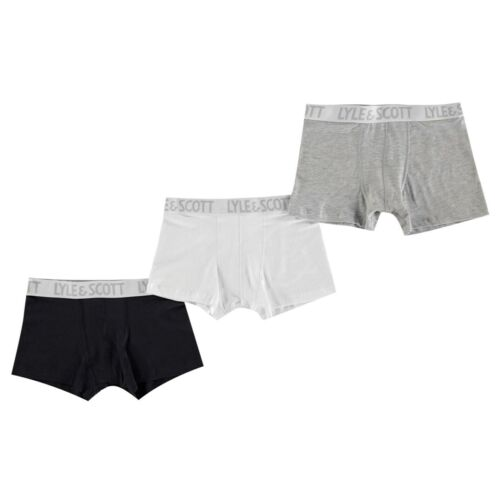 Kids Boys Lyle and Scott 3 Pack Soft Touch Cotton Trunks Underwear Stretch New
