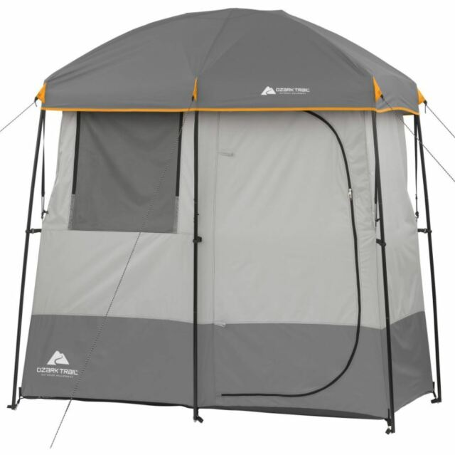 2 Room Shower Tent Camping Gear Beach Shelter Outdoor Ozark Trail Grey  Cabana dd17429c2