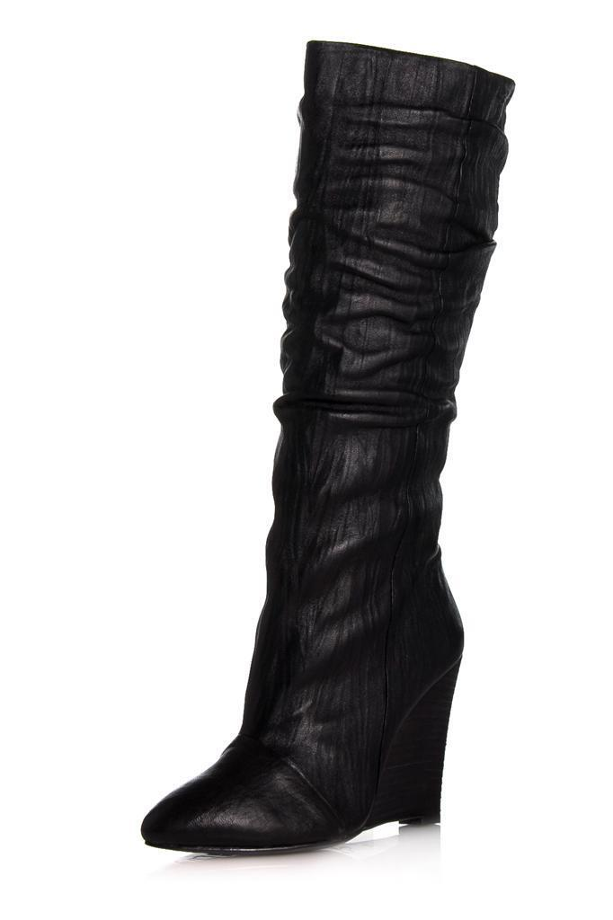 moda classica Plomo Guiselle avvio avvio avvio nero Sheep Wedge knee high crinkled leather  fold-over cuff  prendiamo i clienti come nostro dio