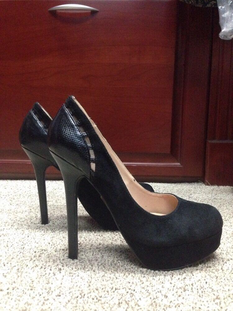 Colin Stuart Black Suede & Leather Pumps Heels Size 7 Victorias Secret SEXY