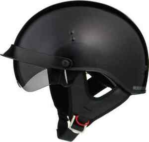Details About Gloss Black Motorcycle Half Helmet Retractable Sun Visor Dot Cruiser Mens Womens