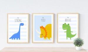 3 Modern Dinosaur Personalised Prints Dinos Nursery Wall Art Decor Boys Pictures