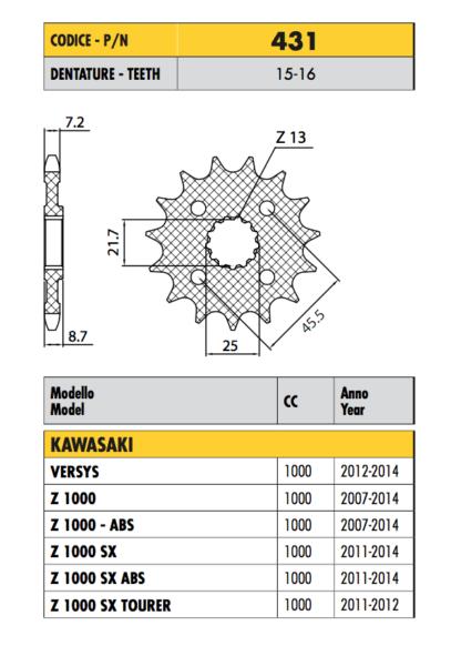 431 - Pignone Passo 525 Per Kawasaki Z 1000 Sx / Abs 2011 2012 2013 2014 2015 Zo Effectief Als Een Fee Doet