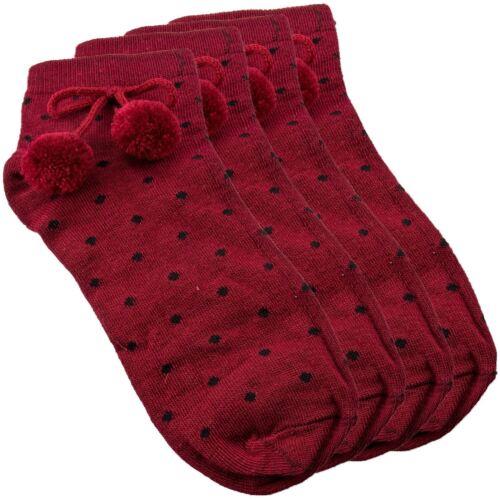 New Ladies Girls Pom Pom Socks Cotton Rich Size UK 4-6 Polka Dot Spanish Style
