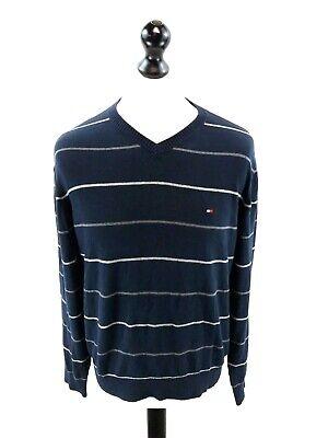 Tommy Hilfiger Da Uomo Maglione Pullover M Medium Blue Righe Grigie Cotone-mostra Il Titolo Originale