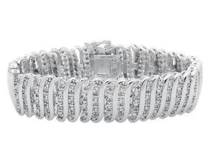 3CTW ROUND DIAMONDS LOVE BANGLE BRACELET 14K WHITE GOLD FINISH