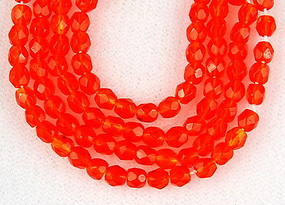100 Sun Orange Round Faceted Fire Polished Czech Loose Craft Glass Beads 3mm