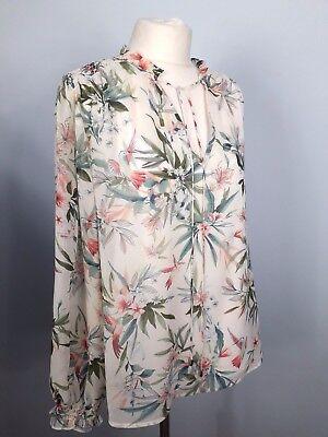 M/&S Collection Size 18 Black Floral Front Top Blouse