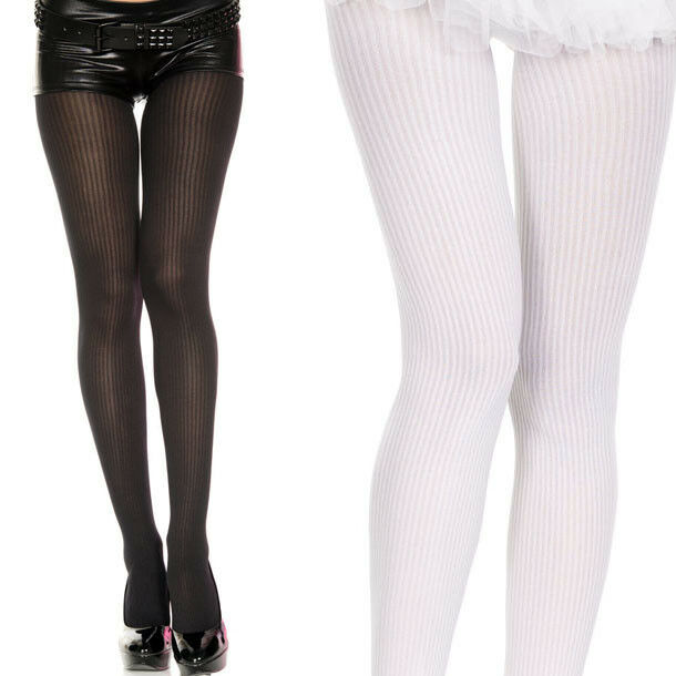 Women's Solid Color Striped Ribbed Opaque Tights Stocking Pantyhose Costume OS