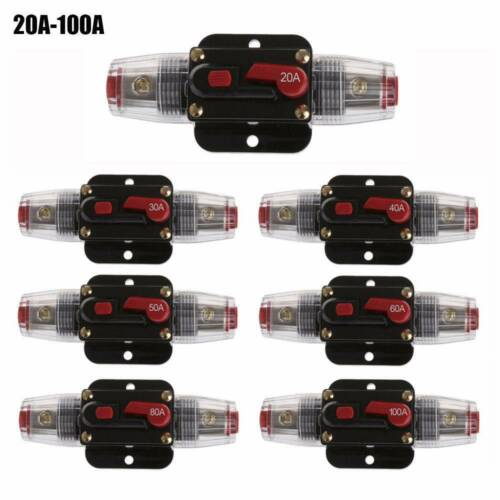 1//2x Auto 100A DC 12V Stereo Audio Inline Circuit Breaker Resettable Fuse Holder